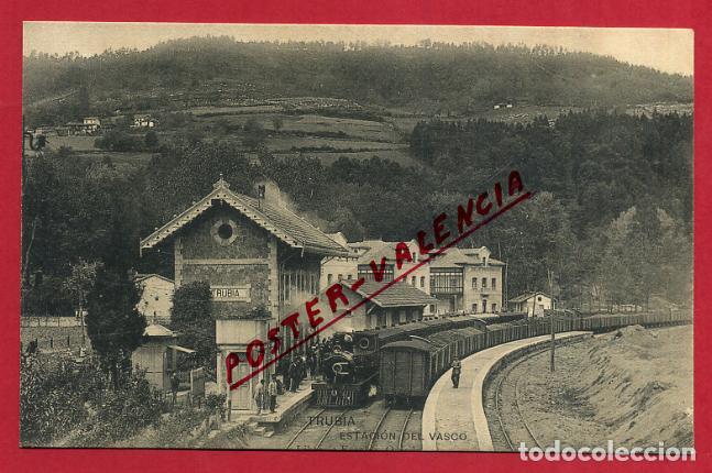 POSTAL ASTURIAS, TRUBIA , ESTACION FERROCARRIL DEL VASCO , ORIGINAL, P346 (Postales - España - Asturias Antigua (hasta 1.939))