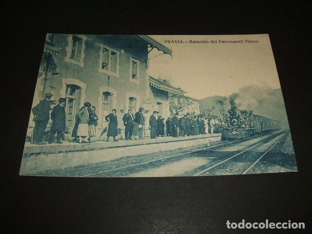 PRAVIA ASTURIAS ESTACION DEL FERROCARRIL VASCO ED. VARELA (Postales - España - Asturias Antigua (hasta 1.939))
