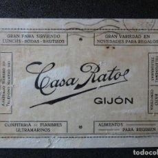 Postales: (JX-181223)TARJETA POSTAL , CENSURA MILITAR GIJON , CASA RATO , CONFITERÍA , ULTRAMARINOS , GUERRA C. Lote 142993930