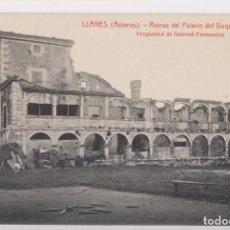 Postales: POSTAL. LLANES. RUINAS DEL PALACIO DEL DUQUE DE ESTRADA. ASTURIAS. Lote 143546766