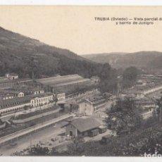 Postales: POSTAL. TRUBIA, OVIEDO. VISTA PARCIAL DE LA FÁBRICA Y BARRIO DE JUNIGRIO. ASTURIAS. Lote 143581986