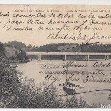 Postales: POSTAL. SAN ESTEBAN DE PRAVIA. PUENTE DE MUROS A SOTO SOBRE EL NALÓN. ASTURIAS. Lote 143583390