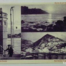 Cartes Postales: POSTA VISTAS RIBADESELLA - PASEO DE LA GRUA. FARO, SAN ROMAN EN INVIERNO,PUESTA DE SOL DESDE LA GRUA. Lote 144753602