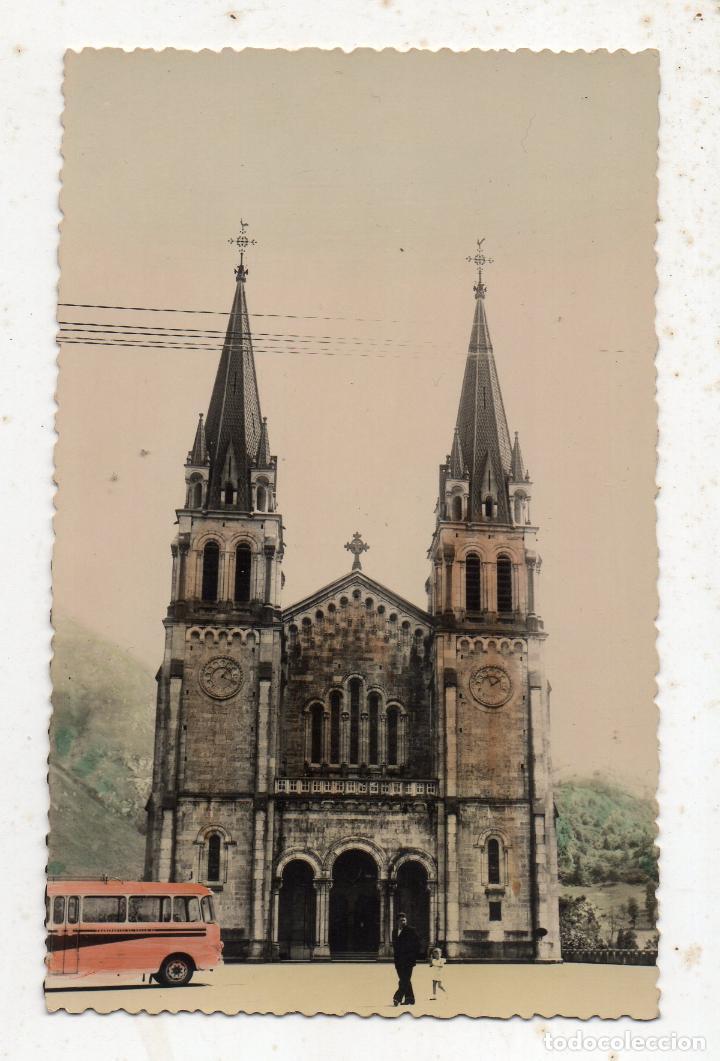 COVADONGA. ASTURIAS. LA BASÍLICA DESDE LA EXPLANADA. TROLEBÚS. (Postales - España - Asturias Moderna (desde 1.940))