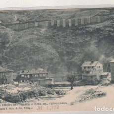 Postales: ASTURIAS. PUENTE DE LOS FIERROS UN RINCÓN DEL PUEBLO OBRA DEL FERROCARRIL. VILLEGAS SERIE F NUM 4. Lote 147134194