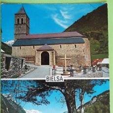 Postales: BIELSA. 10 IGLESIA PARROQUIAL-VALLE DE PINETA. ED. SICILIA. USADA. COLOR. Lote 147353457