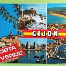 Postales: GIJÓN. 2078 DIVERSOS ASPECTOS. ED. ALCE. NUEVA. COLOR. Lote 147354386