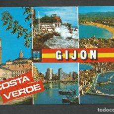 Postales: POSTAL CIRCULADA - GIJON 2078 - DIVERSOS ASPECTOS - EDITA ESCUDO DE ORO. Lote 147583626