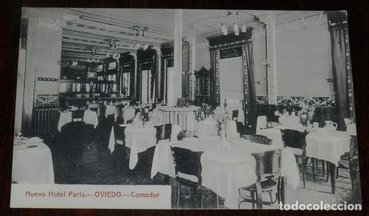 POSTAL DEL NUEVO HOTEL PARIS. OVIEDO. ASTURIAS. COMEDOR. SIN CIRCULAR.