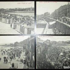 Postales: LOTE DE CUATRO POSTALES DE LA PLAYA DE SAN LORENZO, GIJÓN. VINCK. 1924.. Lote 154686662