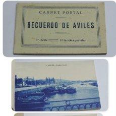 Postales: CUADERNILLO DE RECUERDO DE AVILES, ASTURIAS, 12 TARJETAS POSTALES, 1º SERIE, LIBRERIA LA ESPERANZA, . Lote 155573970