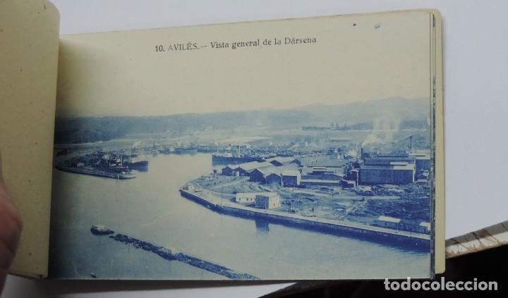 Postales: CUADERNILLO DE RECUERDO DE AVILES, ASTURIAS, 12 TARJETAS POSTALES, 1º SERIE, LIBRERIA LA ESPERANZA, - Foto 14 - 155573970