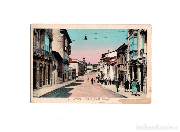 AVILÉS.(ASTURIAS).- CALLE DE JOSE M. PEDREGAL, COLOREADA. (Postales - España - Asturias Antigua (hasta 1.939))