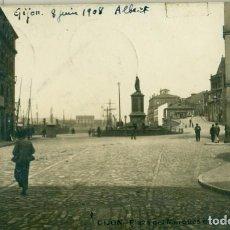 Postales: GIJÓN. PLAZA DEL MARQUÉS DE SAN ESTEBAN. CIRCULADA EN 1916. FOTOGRÁFICA. RARA.. Lote 162915238