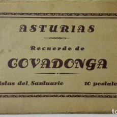 Postales: RECUERDO DE COVADONGA, ASTURIAS, 10 FOTOGRAFIAS POSTALES, VISTAS DEL SANTUARIO. Lote 162975630