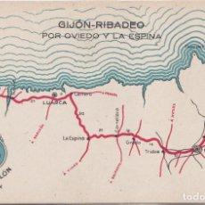 Cartes Postales: GIJON (ASTURIAS) - AUTO SALON GIJON-RIBADEO POR OVIEDO Y LA ESPINA. Lote 164643426