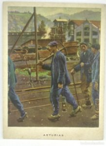 Asturias. Mineros. Las regiones Españolas. Nº 3 R. López Cabrera 15x11,1cm