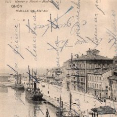 Postales: GIJON. MUELLE DE ABTAO. H Y M 1957. Lote 165754154