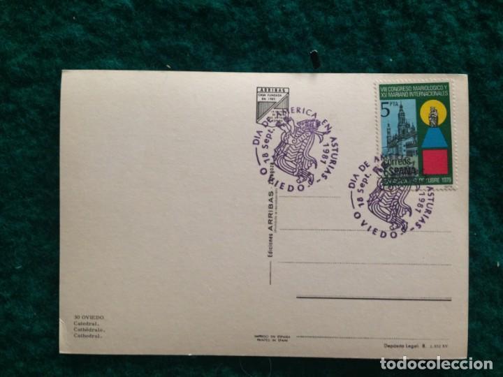 Postales: OVIEDO - CATEDRAL - CON MATASELLOS ESPECIAL DIA DE AMERICA -81 EN REVERSO - Foto 4 - 165884746