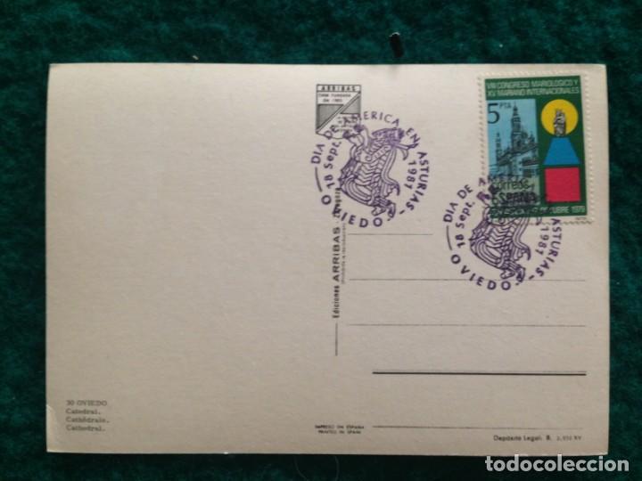 Postales: OVIEDO - CATEDRAL - CON MATASELLOS ESPECIAL DIA DE AMERICA -81 EN REVERSO - Foto 5 - 165884746