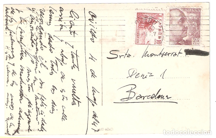 Postales: Oviedo 2. Calle Uria. Ed Arribas escritas, con matasellos. años 40.. Vell i Bell - Foto 2 - 168167724