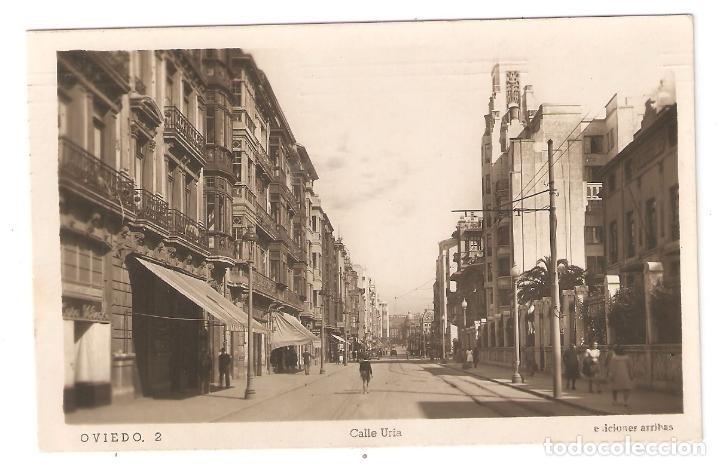 OVIEDO 2. CALLE URIA. ED ARRIBAS ESCRITAS, CON MATASELLOS. AÑOS 40.. VELL I BELL (Postales - España - Asturias Moderna (desde 1.940))