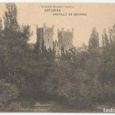 Postales: POSTAL DE ASTURIAS LIBRERIA ESCOLAR OVIEDO-FOT HAUSER Y MENET-CASTILLO DE SECADES-SIN CIRCULAR. Lote 169598892
