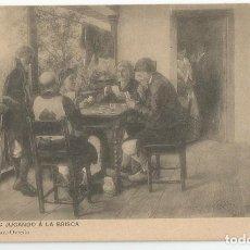 Postales: POSTAL DE ASTURIAS LIBRERIA ESCOLAR OVIEDO-FOT HAUSER Y MENET-JUGANDO A LA BRISCA-SIN CIRCULAR. Lote 169601356