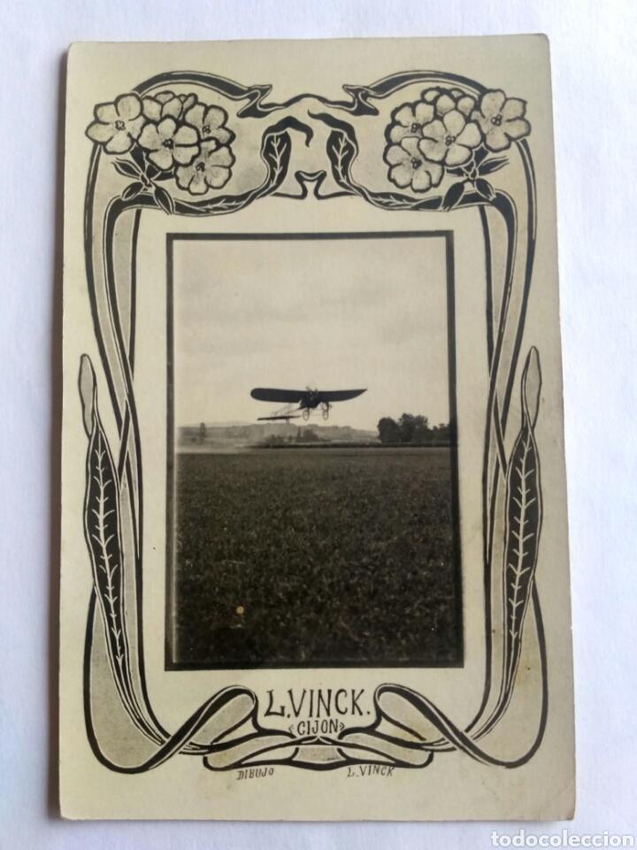 FOTOGRAFÍA POSTAL DE L. VINCK. AVIADOR GARNIER. GIJÓN, ASTURIAS 1908. (Postales - España - Asturias Antigua (hasta 1.939))