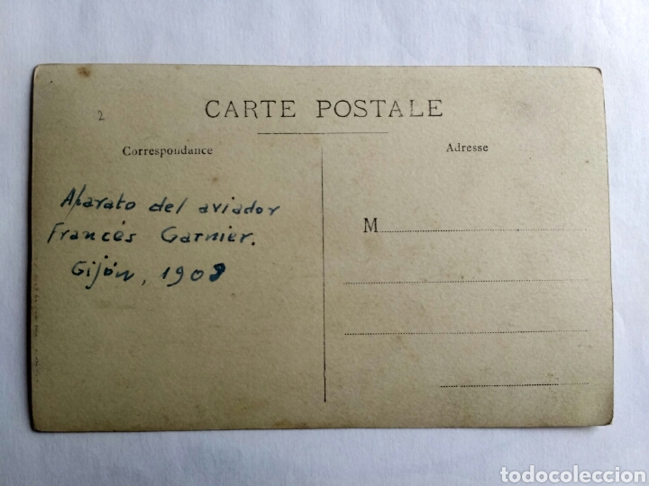 Postales: Fotografía postal de L. Vinck. Aviador Garnier. Gijón, Asturias 1908. - Foto 2 - 170485582