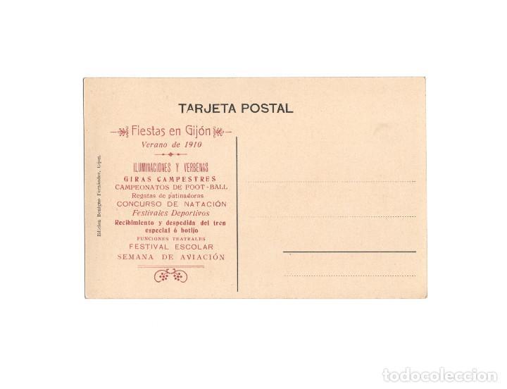 Postales: GIJÓN.(ASTURIAS).- MUELLE DE ABTAO. EDICIÓN BENIGNO FERNÁNDEZ. FIESTAS 1910. SEMANA DE LA AVIACIÓN. - Foto 2 - 171186505