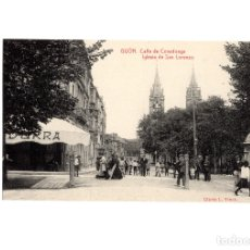 Postales: GIJÓN.(ASTURIAS).- CALLE DE COVADONGA. IGLESIA DE SAN LORENZO. . Lote 174654624