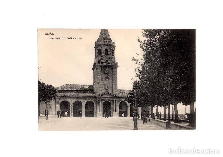 GIJÓN.(ASTURIAS).- IGLESIA DE SAN PEDRO. (Postales - España - Asturias Antigua (hasta 1.939))