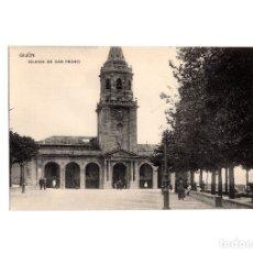 Postales: GIJÓN.(ASTURIAS).- IGLESIA DE SAN PEDRO.. Lote 174665498