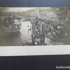 Postales: SAN ESTEBAN DE PRAVIA ASTURIAS FIESTA O VISITA REGIA EN EL MUELLE POSTAL FOTOGRAFICA HACIA 1910. Lote 174958737