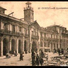 Postales: TARJETA POSTAL DE OVIEDO:.EL AYUNTAMIENTO./ GRAFOS. MADRID./ 17-10-925.. Lote 175552955