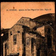 Postales: TARJETA POSTAL DE OVIEDO: IGLESIA DE SAN MIGUEL DE LILLO./ 21-11-1925.. Lote 175555649