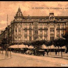 Postales: TARJETA POSTAL DE OVIEDO: LA ESCANDALERA Y CALLE URÍA./ GRAFOS-MADRID./ 20-10-1925.. Lote 175555918