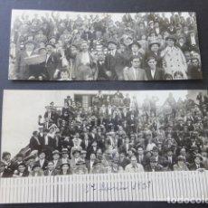 Postales: GIJON ASTURIAS 2 FOTOGRAFIAS REVELADAS EN TARJETA POSTAL 1928 PUBLICO EN PARTIDO DE FUTBOL. Lote 175778085
