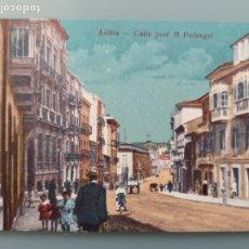 Postales: POSTAL AVILES CALLE JOSE MARIA PEDREGAL ASTURIAS GIJON OVIEDO ANIMADA COLOR PERFECTA CONSERVACION. Lote 176056487