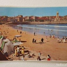 Postales: GIJON PLAYA DE SAN LORENZO VISTA POSTAL. Lote 176091832