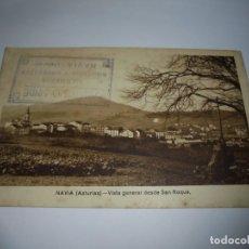 Postales: NAVIA(ASTURIAS)-VISTA GENERAL DESDE SAN ROQUE.CENSURA MILITAR.CIRCULADA Y FECHADA 1944.CUÑO TIENDA N. Lote 176132224
