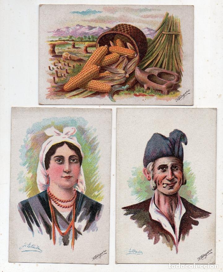 LOTE DE 3 POSTALES ANTIGUAS DE ASTURIAS. TIPOS Y COSTUMBRES. POR G. ESTRADA / MÁRGARA (Postales - España - Asturias Antigua (hasta 1.939))