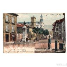 Postales: OVIEDO.(ASTURIAS).- PLAZA DE RIEGO Y UNIVERSIDAD.- ED. PURGER Nº 3801.. Lote 177302642