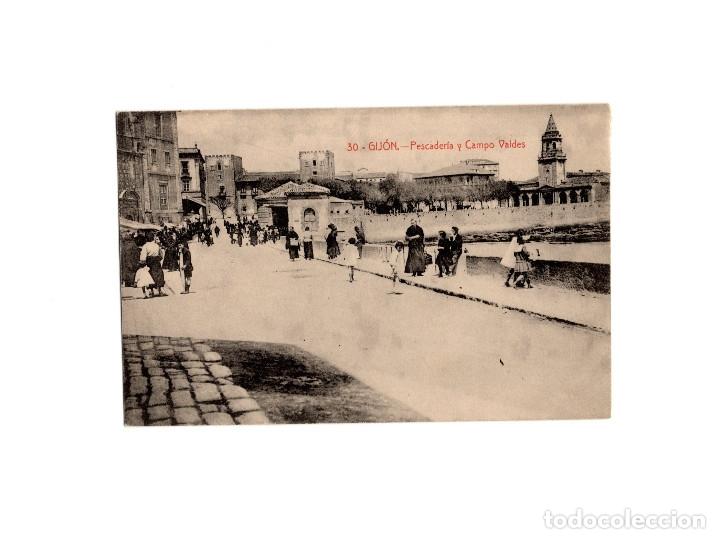 GIJÓN.(ASTURIAS).- PESCADERÍA Y CAMPO VALDES. (Postales - España - Asturias Antigua (hasta 1.939))