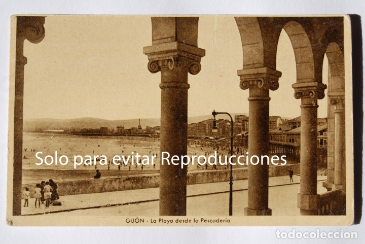 GIJÓN. .POSTAL MUY ANTIGUA. Y BIEN GUAPA TIENE MAS DE 100 AÑOS (Postales - España - Asturias Antigua (hasta 1.939))
