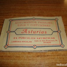 Postales: (TC-230/19) LIBRO DE 24 POSTALES MONUMENTO PAISAJES TIPOS Y COSTUMBRES ASTURIAS LIBRERIA ESCOLAR . Lote 178958456