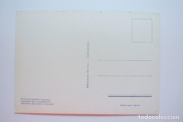 Postales: Nº 19 Tarjeta Postal COVADONGA, ASTURIAS,FACHADA BASILICA Y ESTATUA DEL REY DON PELAYO ,SIN CIRCULAR - Foto 2 - 180253181