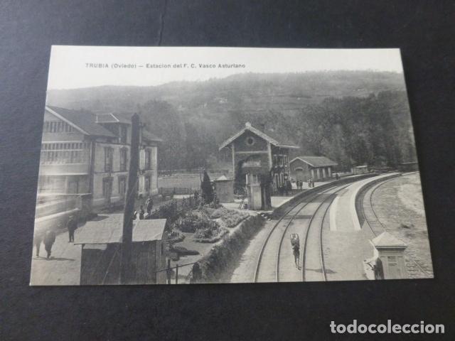 TRUBIA ASTURIAS ESTACION DEL FERROCARRIL VASCO ASTURIANO (Postales - España - Asturias Antigua (hasta 1.939))