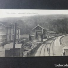 Postales: TRUBIA ASTURIAS ESTACION DEL FERROCARRIL VASCO ASTURIANO. Lote 181340847